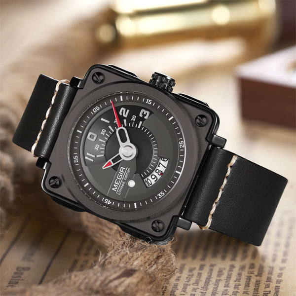 MEGIR Sport Men Wristwatch Leather Strap Square  Men Quartz Military Wristwatches Reloj Hombre with Wristwatch Box 2040