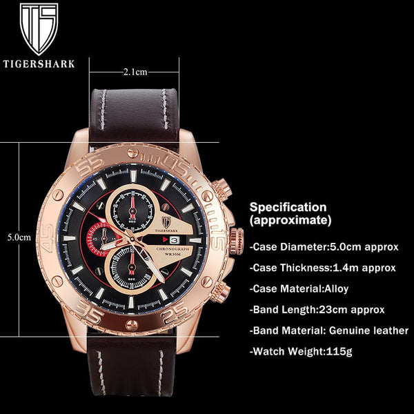fashion men sport watches TIGERSHARK brand men quartz watch rose gold genuine leather wristwatches with gift box 30M waterproof