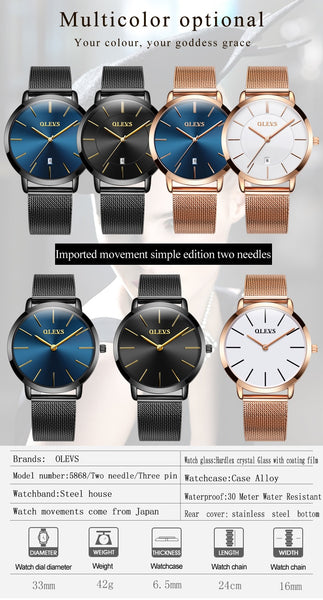 Ultra thin Ladies Wristwatch Brand Luxury Women Wristwatches Waterproof Rose Gold Stainless Steel Quartz Calendar  Wristwatch montre femme
