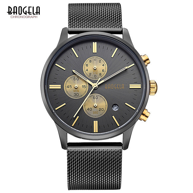Men's Wristwatches BAOGELA Fashion Sports quartz-watch stainless steel mesh Brand men watches Multi-function Wristwatch Chronograph