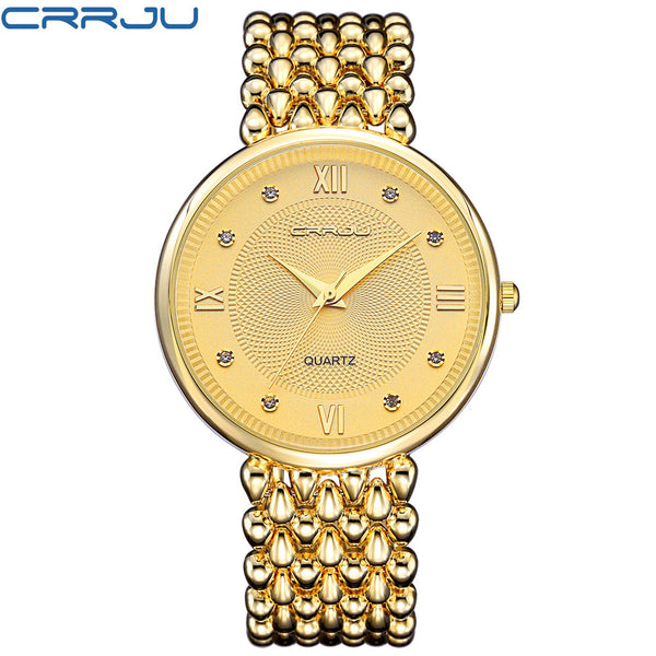 CRRJU Ladies Gold Wristwatch Women Golden Wristwatches Female Top Luxury Brand Women Dress Rhinestone Quartz Waterproof Wristwatches Feminine