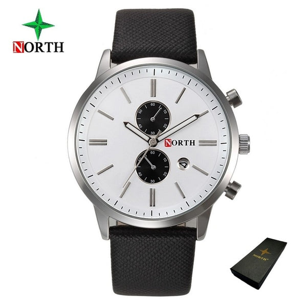 North Luxury Men Wristwatches Business Casual Male Wristwatch Blue Silver Genuine Leather Unique Sport Man Quartz Wristwatch Waterproof