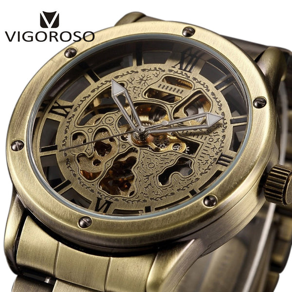 VIGOROSO Antique Retro Vintage Steampunk Automatic Mechanical Skeleton Wristwatch Men Bronze Steel Analog Mens Self Widing Wristwatch