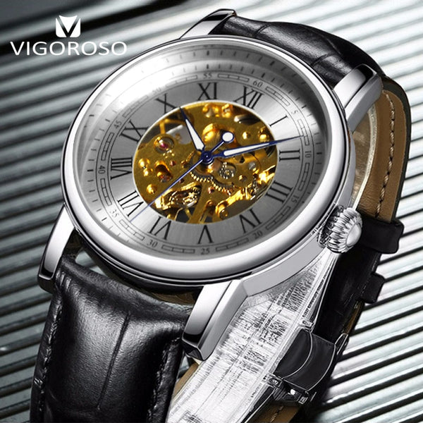 VIGOROSO Mechanical Skeleton Wristwatch Men Steampunk Wristwatches Classical Roman Numerals Hand Winding Analog Leather Band Wristwatches