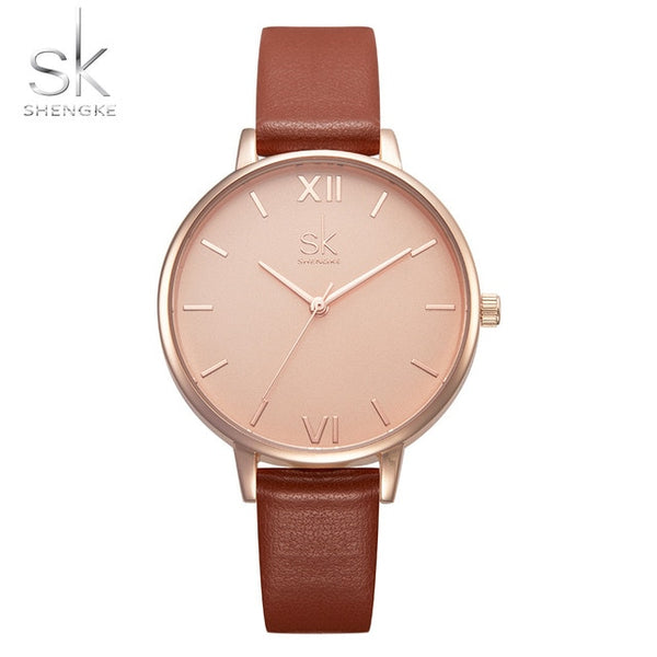 Shengke Top Brand Fashion Ladies Wristwatches Leather Female Quartz Wristwatch Women Thin Casual Strap Wristwatch  Mujer Marble Dial SK