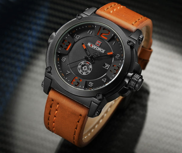 New NAVIFORCE Sport Mens Wristwatches Top Brand Luxury Waterproof Leather Quartz Wristwatch Military Wristwatch Male Wristwatch relogio