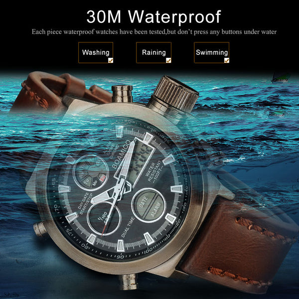 BOAMIGO men sports watches brown leather band man military quartz LED digital analog casual wristwatches waterproof