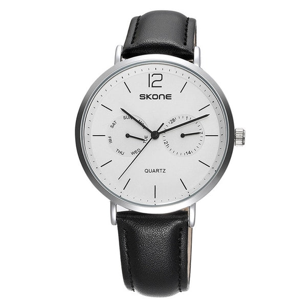 SKONE Casual Men's Wristwatch Complete Calendar Quartz Clock Ultra Thin Case Leather Strap Wristwatch Men Business Wristwatches