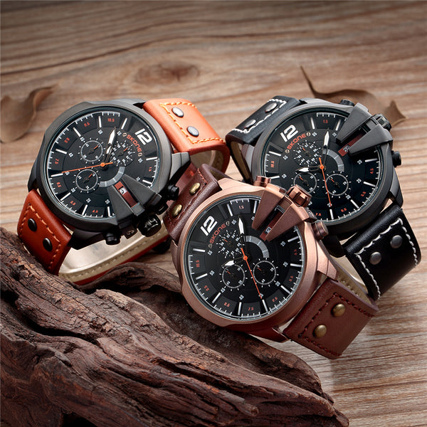SKONE Wristwatches Men Military Waterproof Leather Auto Date Quartz Wristwatch Sport Male Chronograph Wristwatch
