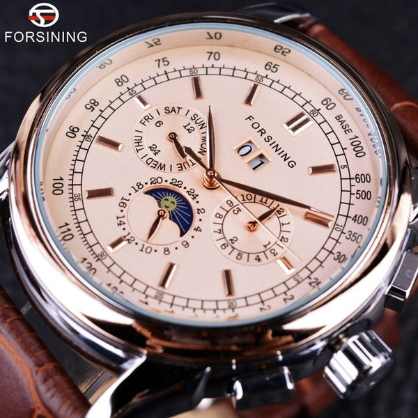 Forsining Moon Phase  Movement Rose Gold Case Brown Genuine Leather Strap Mens Wristwatches Top Brand Luxury Auotmatic Wristwatch