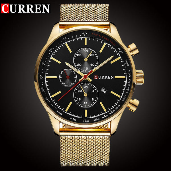 CURREN Luxury Brand Quartz Wristwatch Men's Sport Casual Business Stainless Steel Mesh band Quartz-Wristwatch Fashion Gold male Date