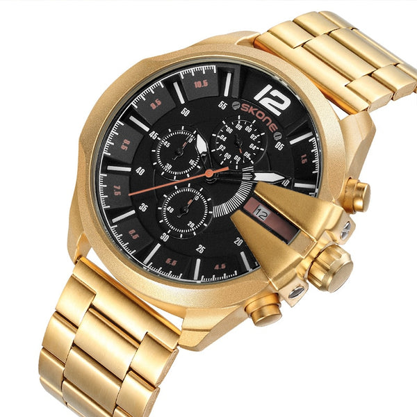 Skone Luxury Brand Men's Wristwatches Gold Black Stainless Steel Chronograph Quartz Clock Male Famous Design Business Wristwatch Man