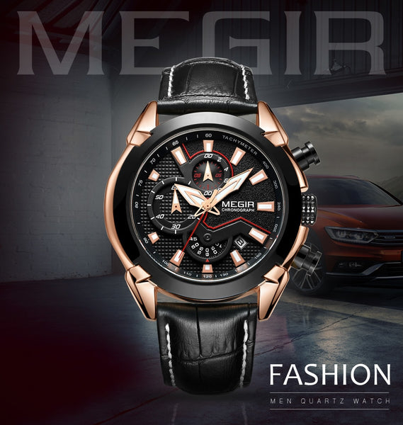 MEGIR Creative Quartz Men Wristwatch Leather Chronograph Army Military Sport Wristwatches Men Hour