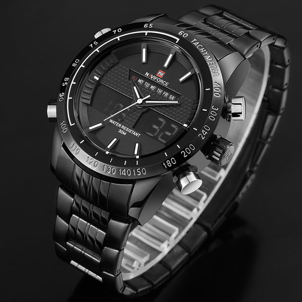 New Fashion Men Wristwatches Full Steel Men's Quartz Hour Analog LED Wristwatch Sports Military  Wristwatch