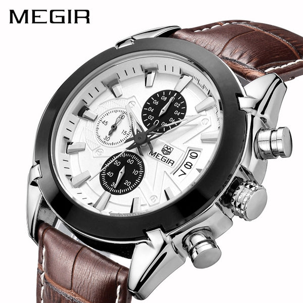 MEGIR Creative Quartz Sport Wristwatch Men Leather Business Wristwatches Chronograph  Army Military Wristwatches
