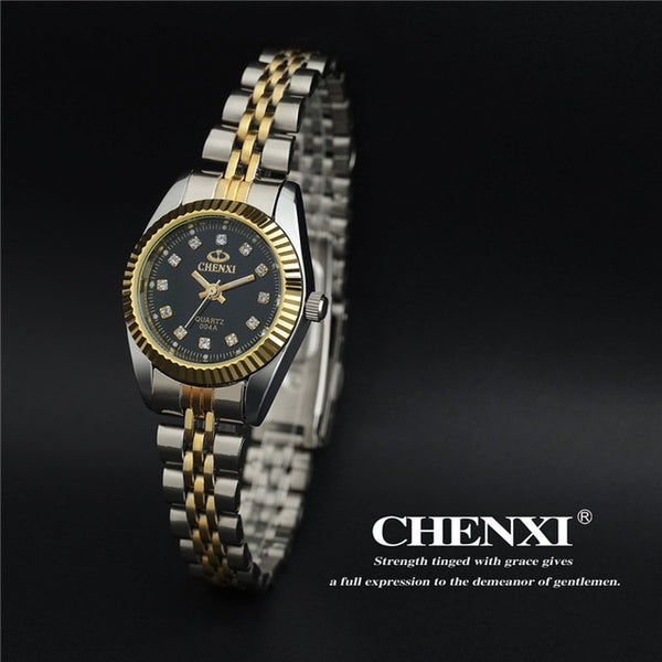 Brand CHENXI Rhinestone Woman Wristwatch Luxury Top Brand Thin Steel Strap Quartz Wristwatch Elegant Lady Casual Wristwatch Waterproof