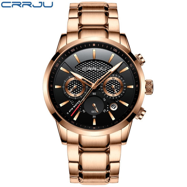 CRRJU Men Wristwatch 30m Waterproof Mens Wristwatches Top Brand Luxury Steel Wristwatch Chronograph Male Saat es