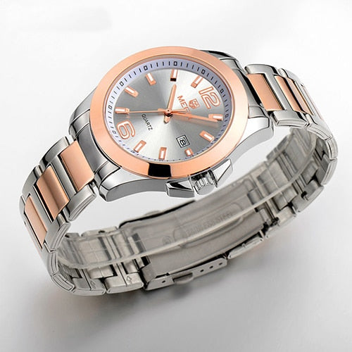 MEGIR Original Men Wristwatch Stainless Steel Business Quartz Wristwatches Calendar Wrist Wristwatch  Men