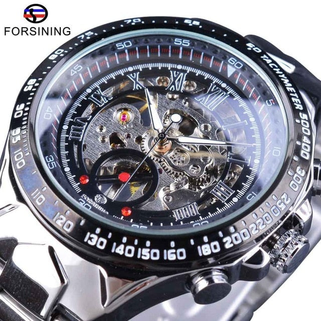 Forsining Transparent Case Open Work Silver Stainless Steel Mechanical Skeleton Sport  Wristwatch Men Top Brand Luxury Men