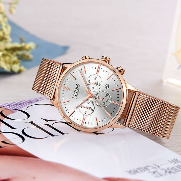 MEGIR Chronograph Luxury Women Bracelet Wristwatcheso Fashion Quartz Lovers Wrist Wristwatch Ladies Girls Gift 2011