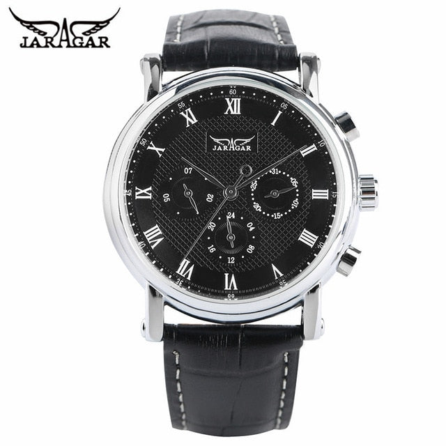 JARAGAR Classic Automatic Mechanical Wristwatch Men Black/White Dial Date Display Wristwatches Business Roman Numbers Fashion Gift