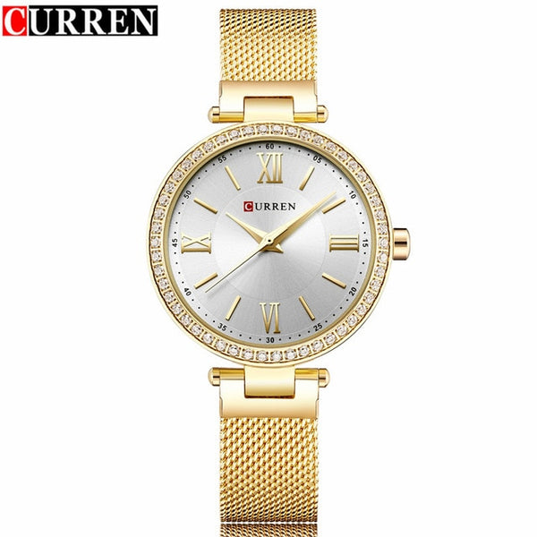 Curren Luxury brand Quartz Wristwatch Women Brand Gold Black Ladies Fashion Dress Wristwatch Female
