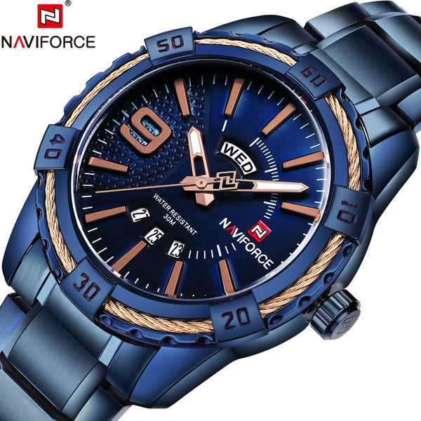Top Brand NAVIFORCE Luxury Men Fashion Sports Wristwatches Men's Quartz Date Clock Man Stainless Steel Wrist Wristwatch