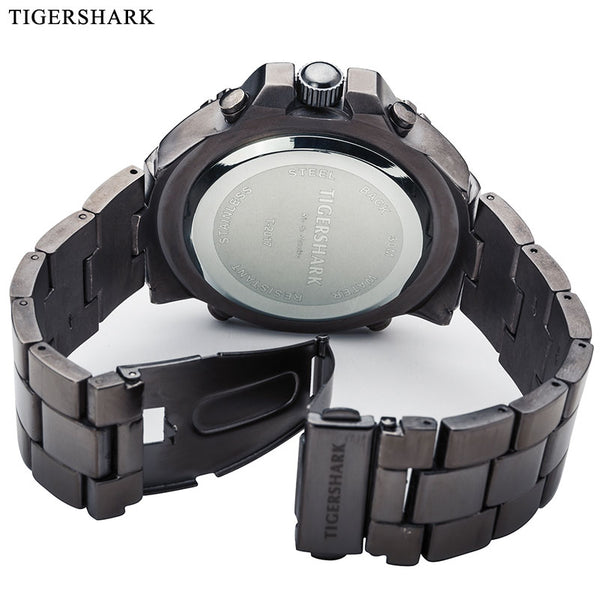 Men Sports Wristwatches Fashion LED Digital Wristwatches TIGERSHARK Brand Alloy Quartz Wristwatches 30M waterproof Relogios Masculino