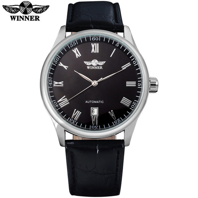 WINNER fashion men mechanical Wristwatches leather strap casual auto date men's automatic black Wristwatches male Wristwatches es