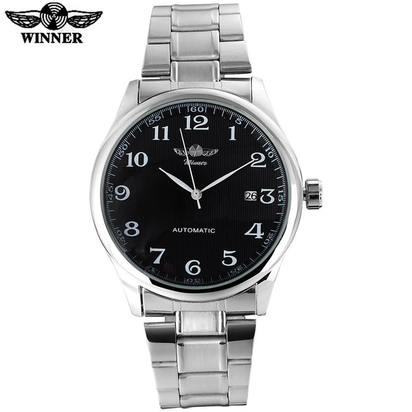 WINNER famous brand men business automatic self wind Wristwatches auto date man fashion mechanical Wristwatches stainless steel band