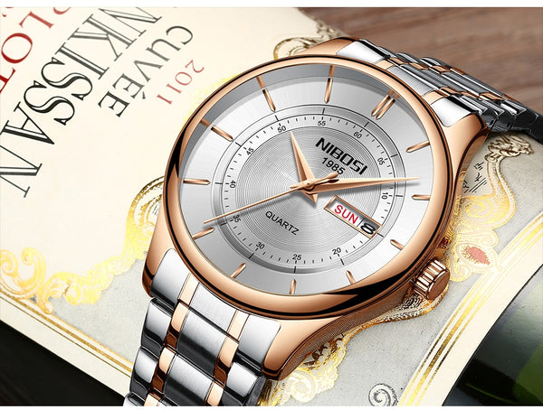 Rose Gold Color Men Wristwatch Luxury Top Brand Men's Wristwatch Fashion Dress New Military Quartz Wristwatch Hot  Male Sport NIBOSI