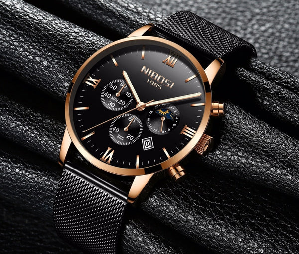 Rose Gold Color  NIBOSI Men Wristwatch Luxury Top Brand Men's Wristwatch Fashion Dress New Military Quartz Wristwatch Hot  Male Sport NIBOSI
