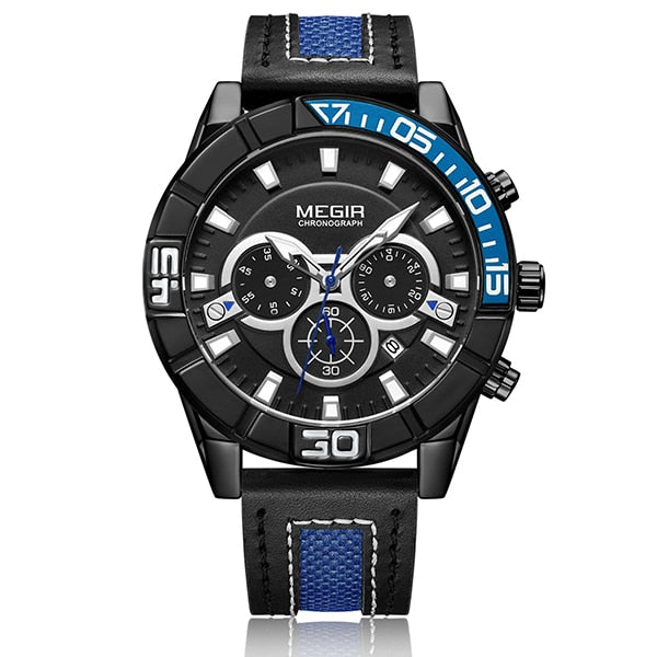 Creative MEGIR Chronograph Men Sport Wristwatch Fashion Army Military Quartz Wrist Wristwatches Men  2066 Saat