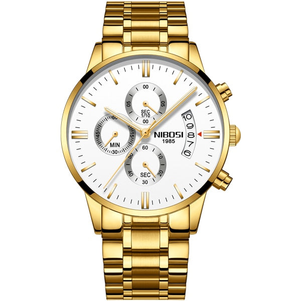 NIBOSI Gold Quartz Wristwatch Top Brand Luxury Men Wristwatches Fashion Man Wristwatches Stainless Steel   Saatler
