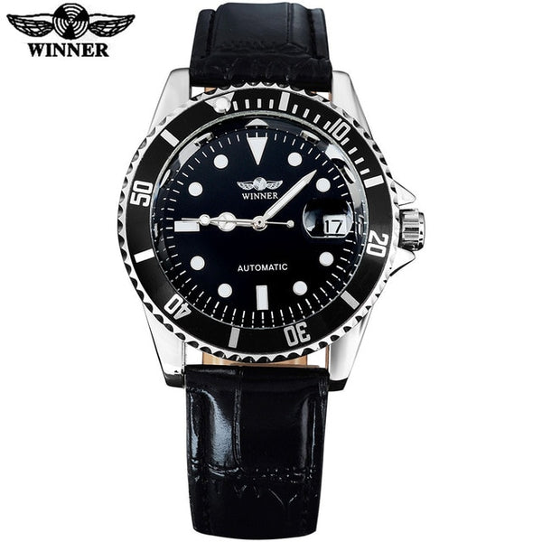 WINNER popular brand men luxury automatic self wind watches creative case black dial male leather band Relogio masculino