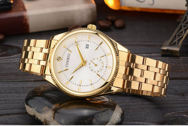 CHENXI Gold Wristwatch Men Luxury Business Man Wristwatch Golden Waterproof Unique Fashion Casual Quartz Male Dress