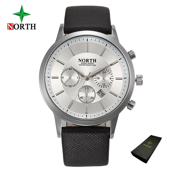 North Luxury Men Wristwatches Waterproof Genuine Leather Fashion Casual Wristwatch Man Business Sport Wristwatch Classic Blue Silver 6009