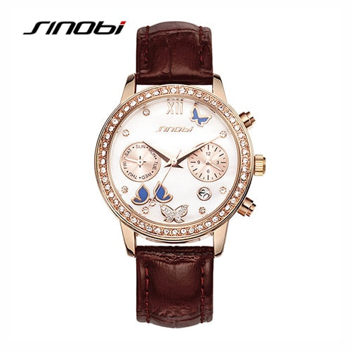 SINOBI New Fashion Butterfly Women Watches Leather Strap Rose Gold Ladies Wristwatch Diamond Luxury Analog Quartz