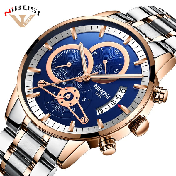 NIBOSI Luxury Men's Wristwatches Stainless Steel Sport  Man Gold Male Wristwatches Top Brand Business Wristwatch