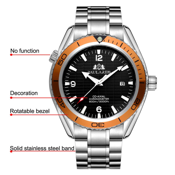 PAULAREIS P Men Automatic Self Wind Mechanical Stainless Steel Strap Simple Orange Blue Black Bezel James Bond 007 Style Date Business Wristwatch