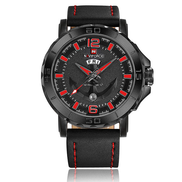 New Top Luxury Brand Naviforce Leather Strap Sports Wristwatches Men Quartz Sports Military  Wristwatch