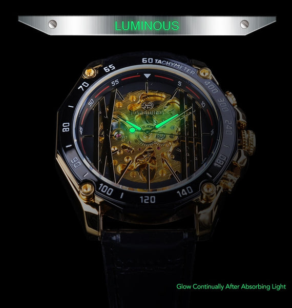 Forsining Big Dial Steampunk Design Luxury Golden Gear Movement Men Creative Openwork Wristwatches Automatic Mechanical  Wristwatches