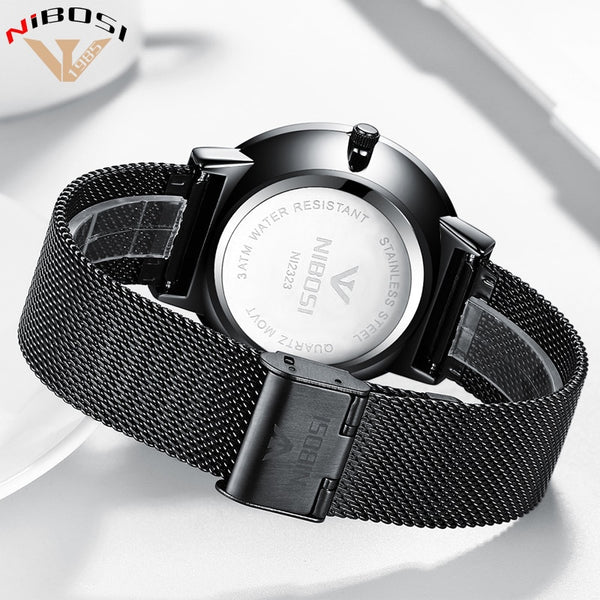 NIBOSI  New Fashion Simple Wristwatch Slim Mesh Band Mens Dress Wristwatches Top Brand Luxury Male   Quartz Wristwatch