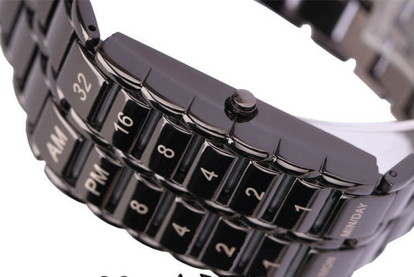 New Fashion TVG Cool Volcanic Lava Style Iron Faceless Binary LED Wrist Wristwatches for Man Black / Silver