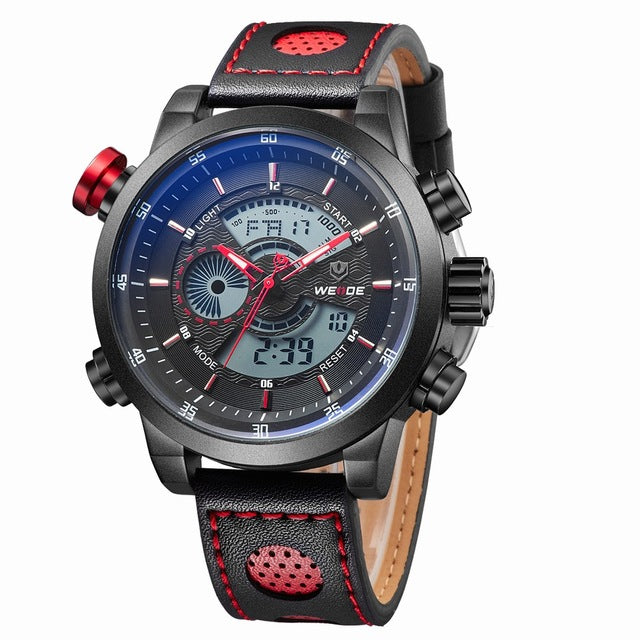 WEIDE Sport Men Fashion Wristwatches Luxury Famous Brand Men's Leather PU Strap Wristwatch 30m Waterproof Casual Sports Wristwatches