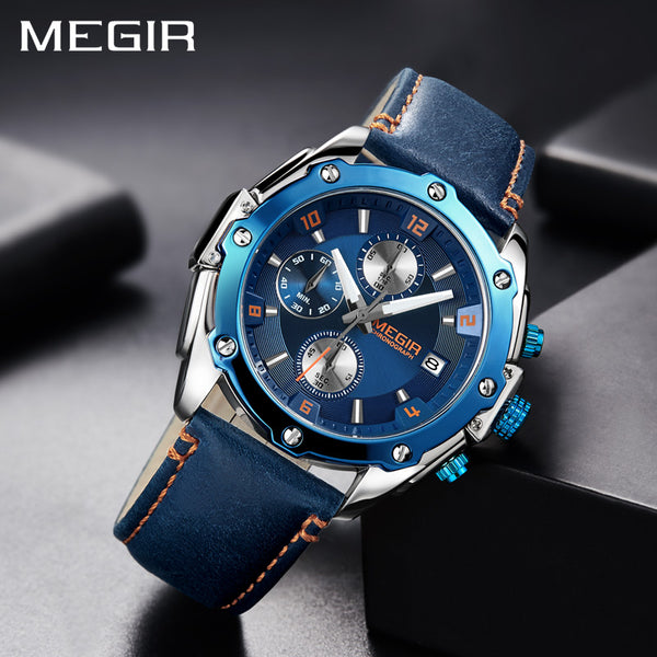 MEGIR Chronograph Men Wristwatch   Blue Leather Business Quartz Wristwatch  Men Creative Army Military  Wristwatches