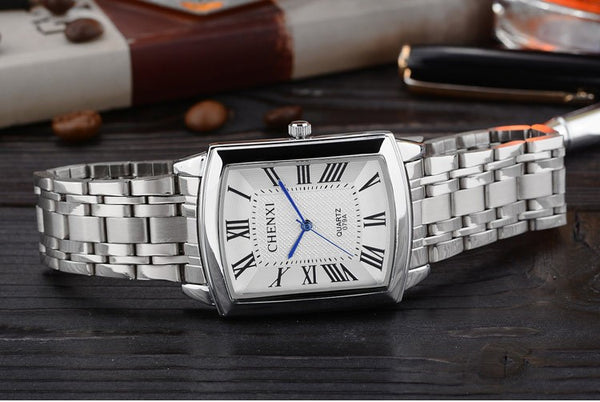 Silver Square Couple Wristwatches Women Men Romantic Elegant Casual Lover's Wristwatch Roman Numeral Stainless Steel Waterproof Gift Wristwatch