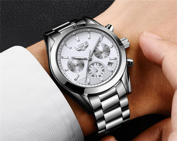 es   New LIGE Mens Wristwatches Top Brand Luxury Full Steel Business Quartz Wristwatch Men Military Sport Waterproof