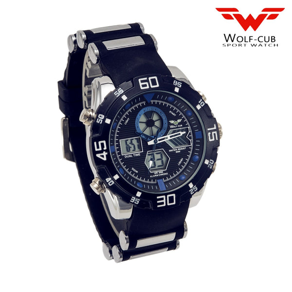 WOLF-CUB Sport Wristwatch Brand Auto Date Day LED Alarm Black Blue Silicone Band Analog Quartz Military Men Digital Wristwatches blue