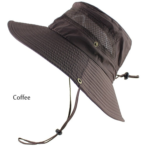 UPF 50+ Bucket Hat Summer Men Women Fishing Boonie Hats UV Protection Long Large Wide Brim Bob Hiking Sun Hat Outdoor Hat Bob